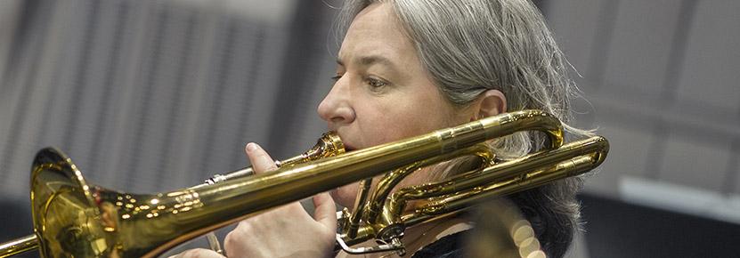 Birigitta Lagerstedt spelar trombon