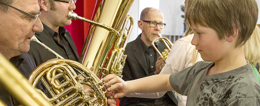 Pojke som tar på musikinstrument, Linnékvintetten