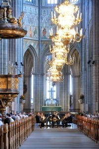 Linnékvintetten har konsert inne i Uppsala domkyrka
