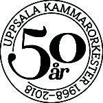 En logotyp med texten Uppsala Kammarorkester 1968-2018 och i mitten 50 år