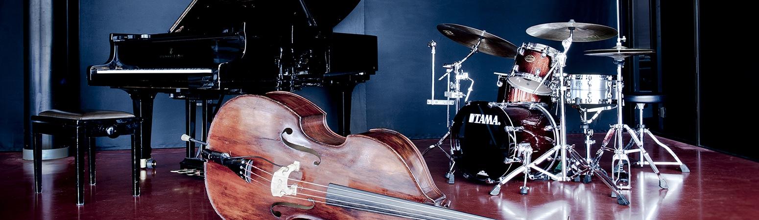 Bild på instrument, flygel, bas, trumset