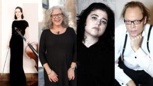 Kollage med Marie Macleod, Ann Lagerström, Lera Auerbach och Love Derwinger
