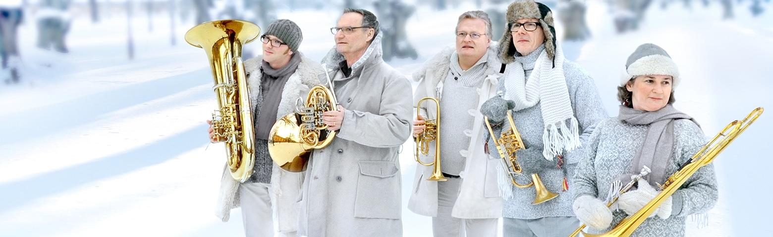 Linnékvintetten untomhus på vintern i vinterkläder